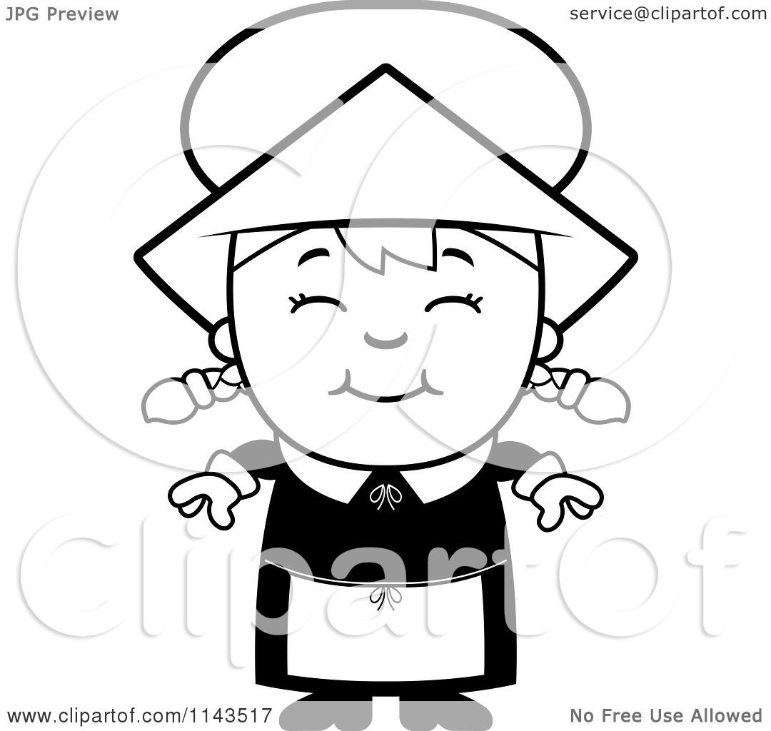 cartoon clipart of a black and white happy pilgrim vector