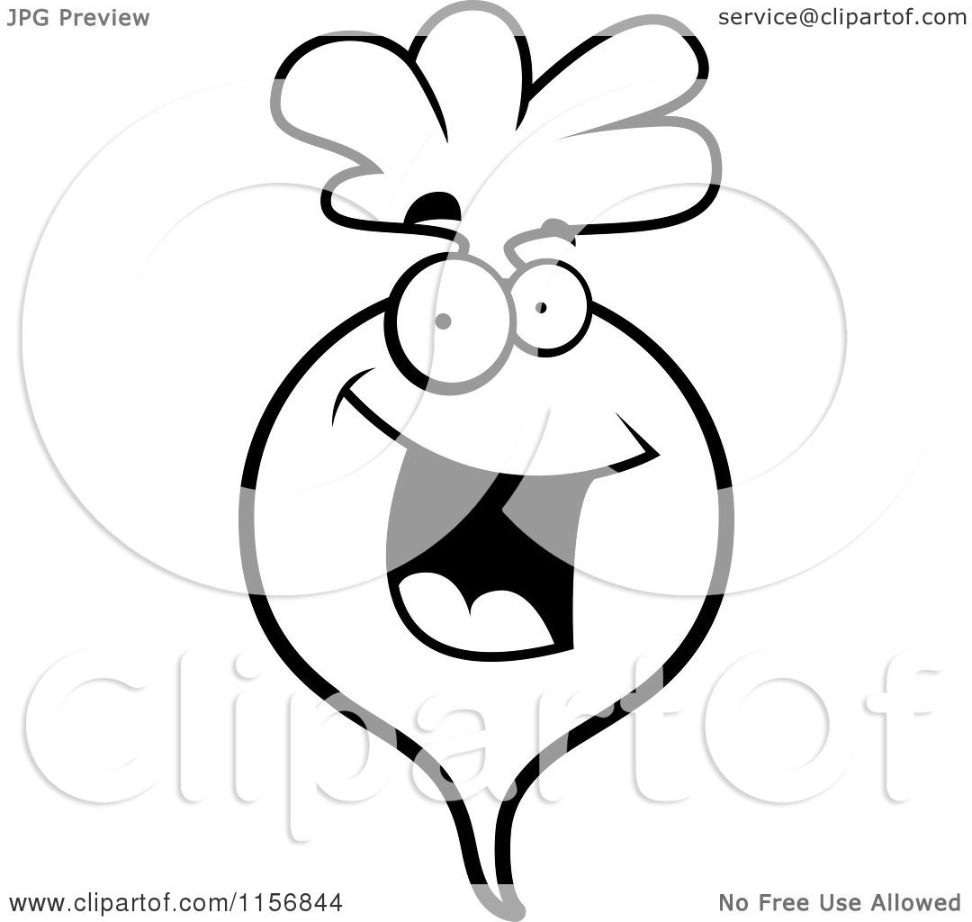cartoon clipart of a black and white happy radish character vector outlined coloring page by cory thoman
