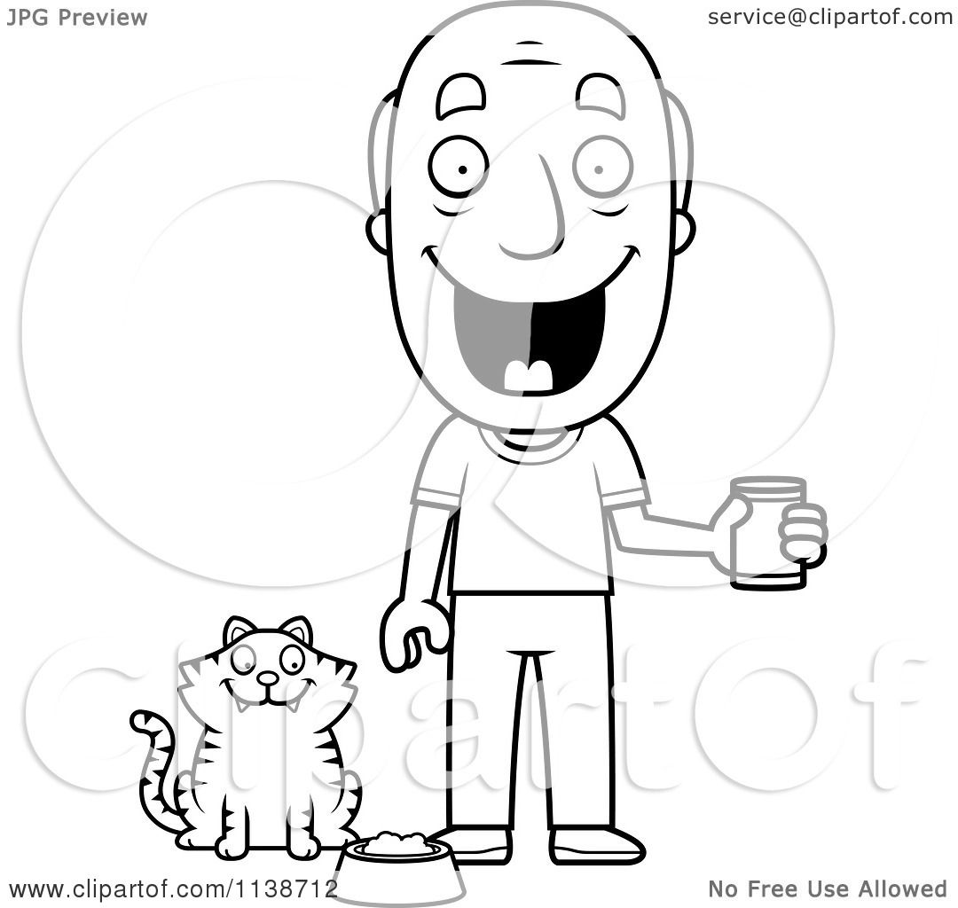Dog man and cat kid coloring pages ~ Cartoon Clipart Of A Black And White Happy Senior Man ...