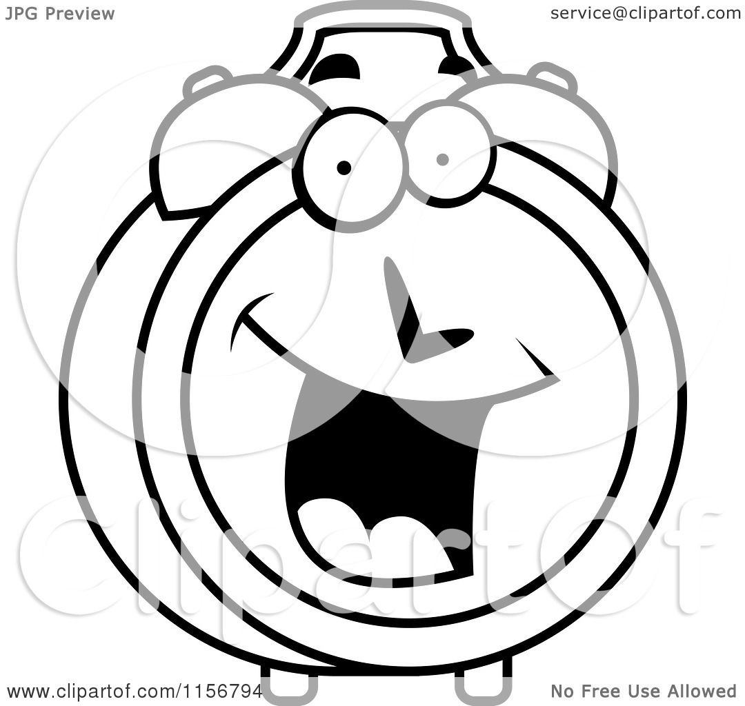 Cartoon Clipart Of A Black And White Happy Smiling Alarm Clock Character