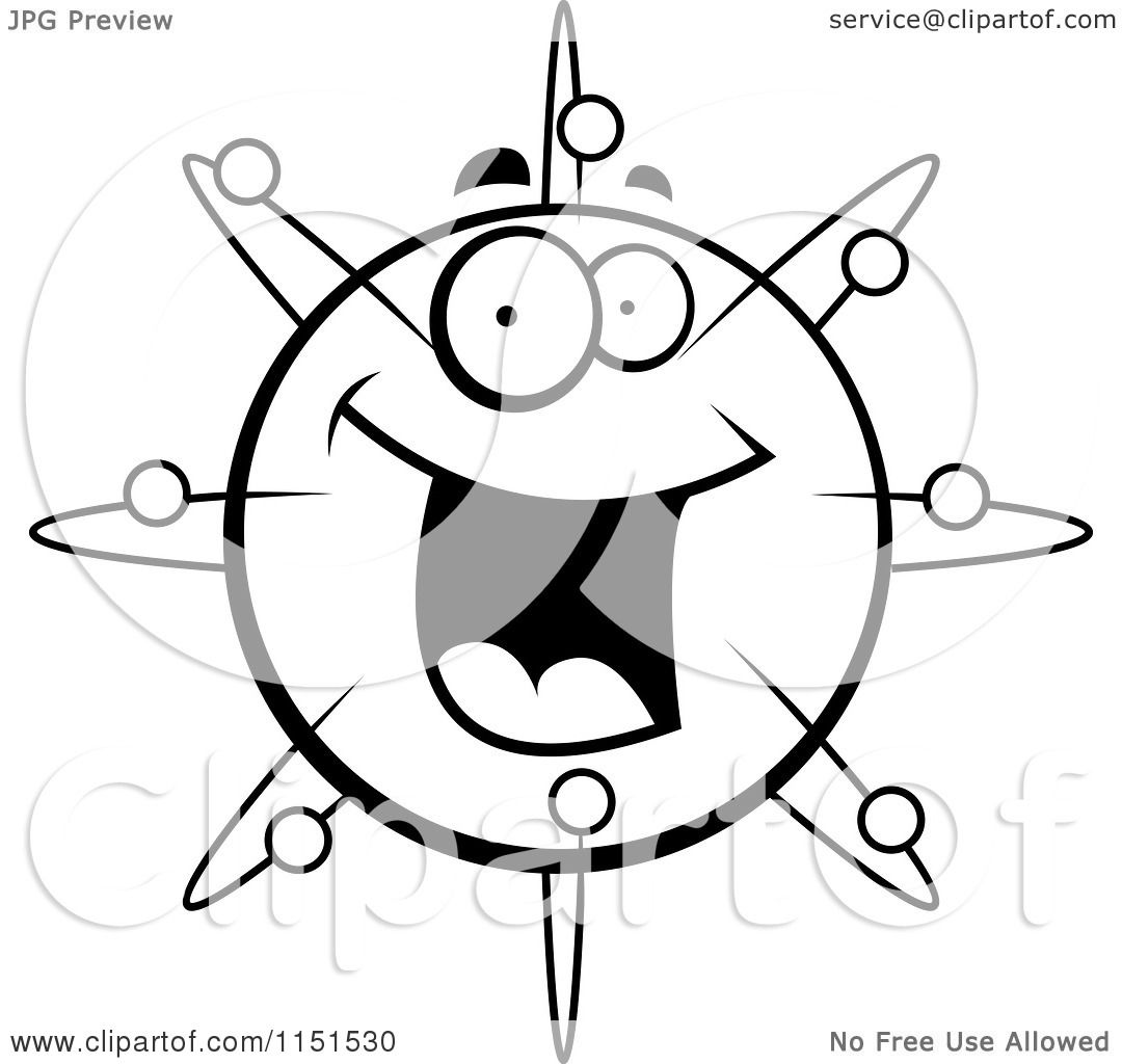 Cartoon Clipart Of A Black And White Happy Smiling Atom