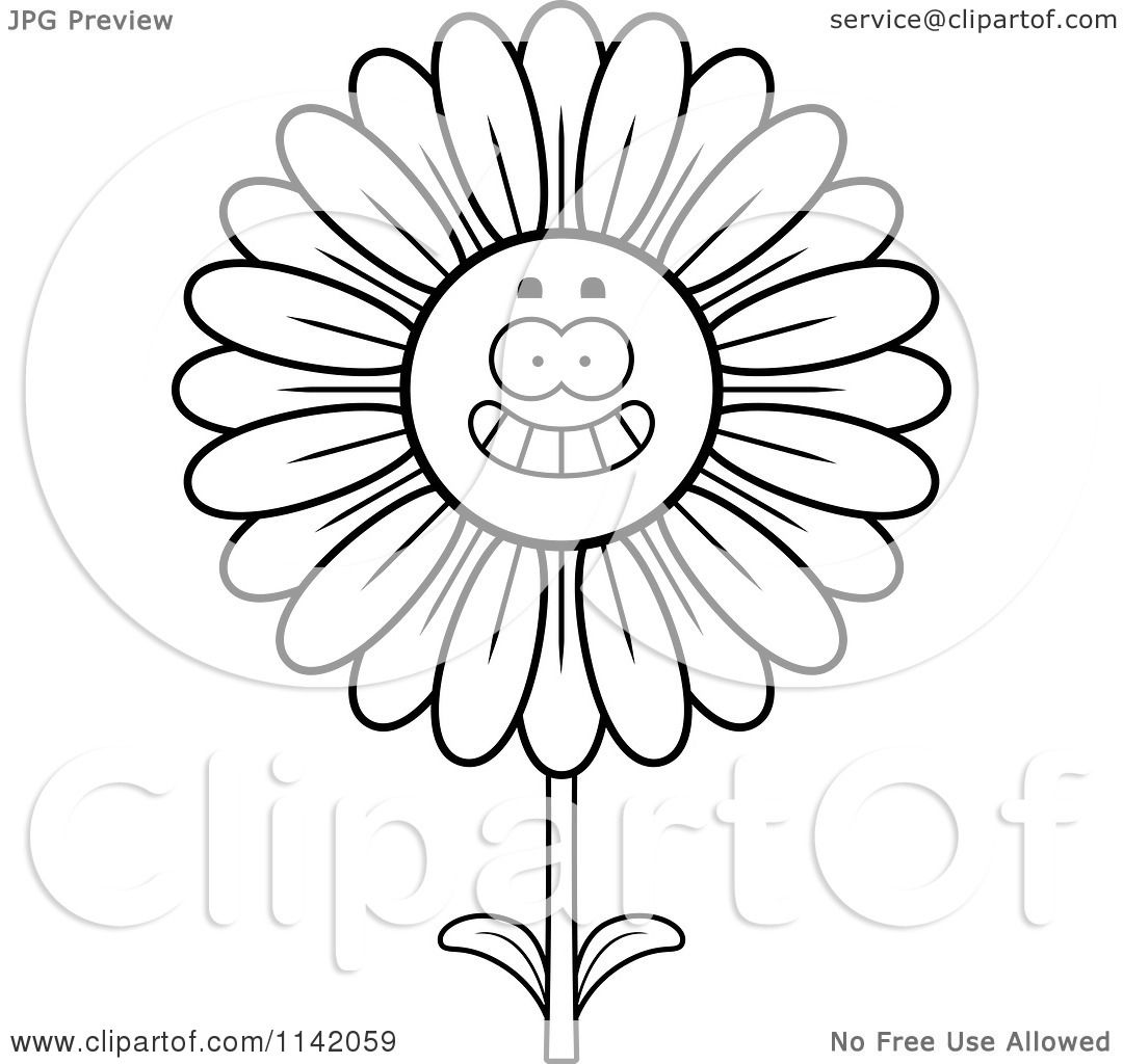 cartoon clipart of a black and white happy smiling daisy flower