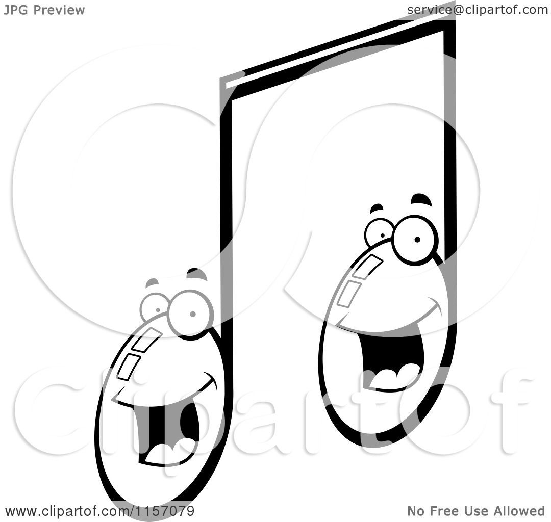 Cartoon Clipart Of A Black And White Happy Smiling Double ...