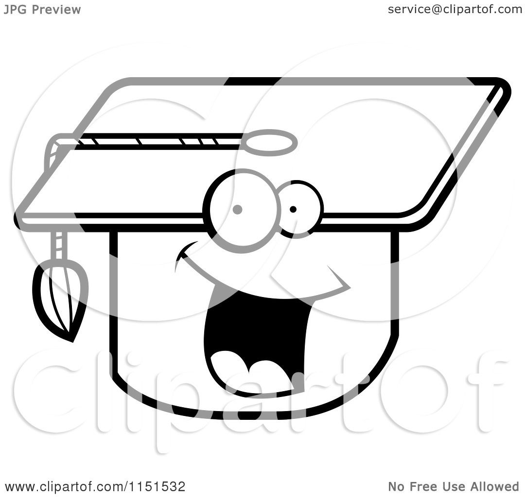 cartoon clipart of a black and white happy smiling graduation cap