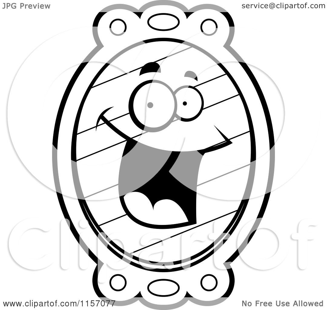 Cartoon Clipart Of A Black And White Happy Smiling Mirror Character