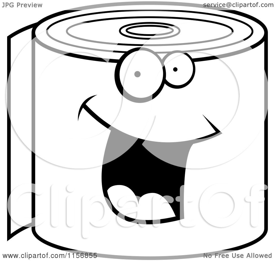 Cartoon Clipart Of A Black And White Happy Smiling Toilet ...