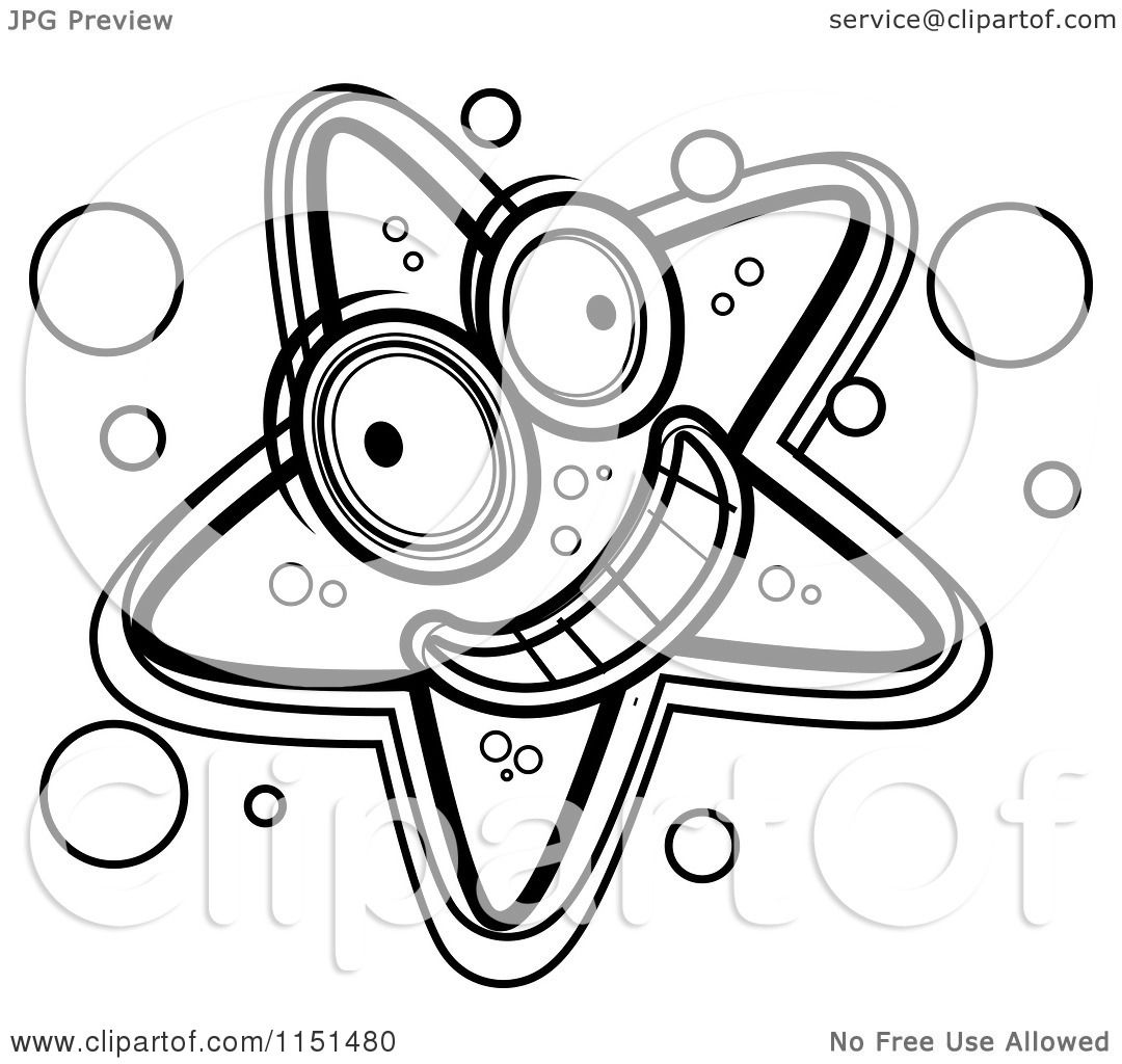 Cartoon Clipart Of A Black And White Happy Starfish - Vector ... for Starfish Clipart Black And White  192sfw