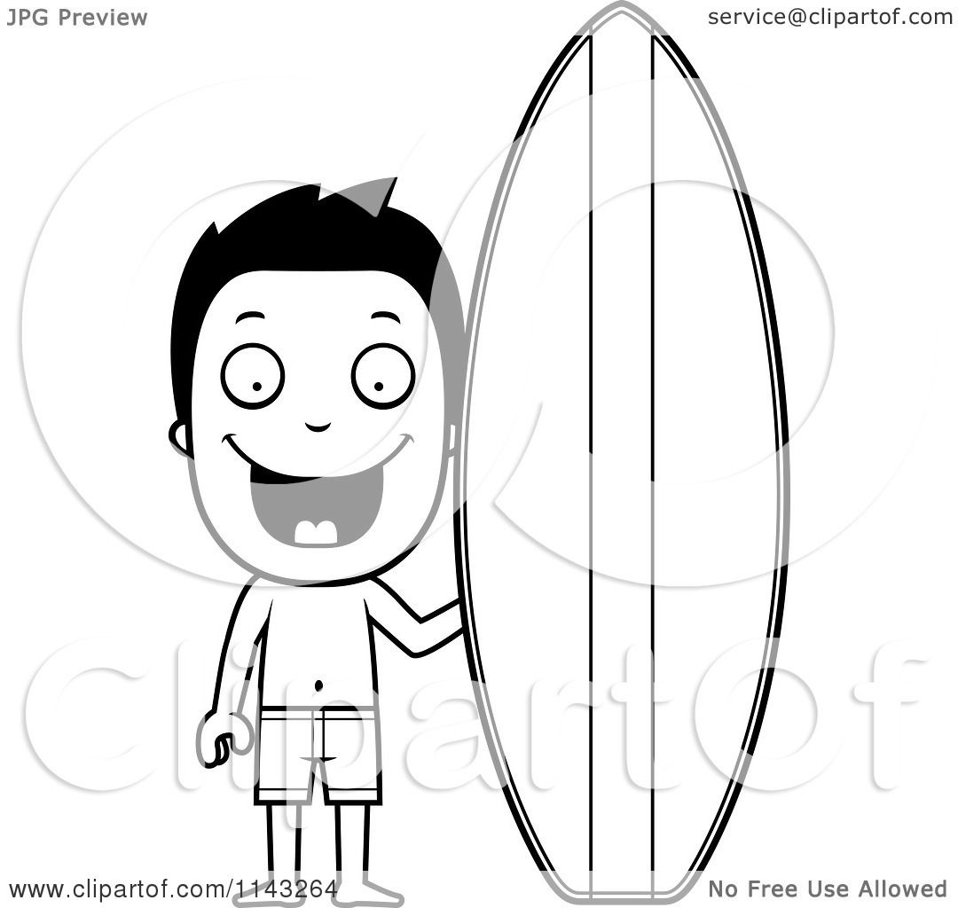 Cartoon Clipart Of A Black And White Happy Summer Boy By A