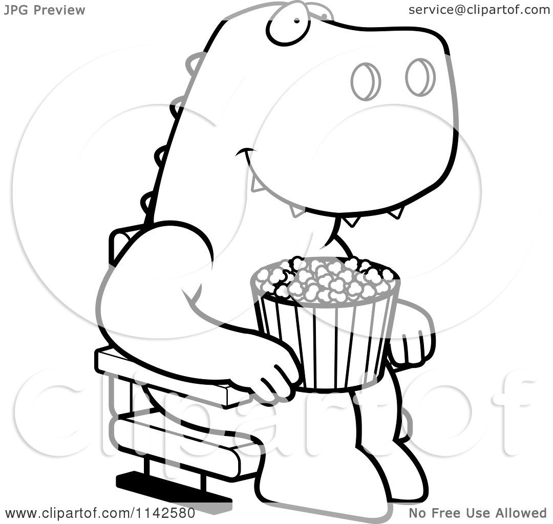 Cartoon-Clipart-Of-A-Black-And-White-Happy-T-Rex-With-Popcorn-At-The-Movie-Theater-Vector-Outlined-Coloring-Page-10241142580