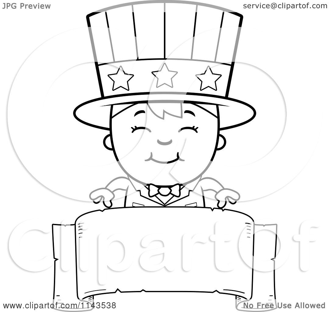 cartoon clipart of a black and white happy uncle sam boy over a
