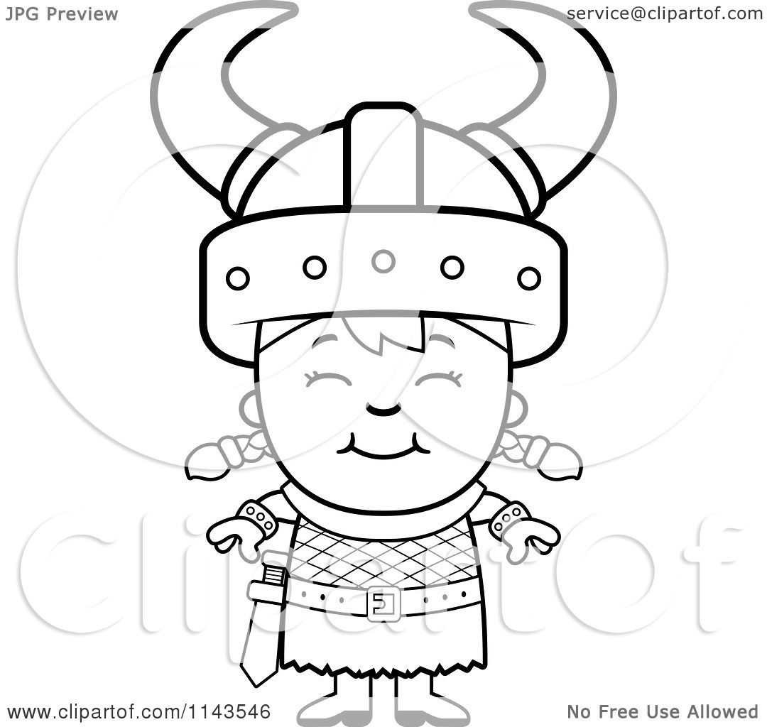 cartoon clipart of a black and white happy viking vector