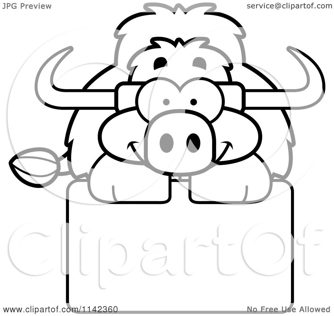 Coloring pages yak - Cartoon Clipart Of A Black And White Happy Yak Over A Sign Vector Outlined Coloring Page By Cory Thoman