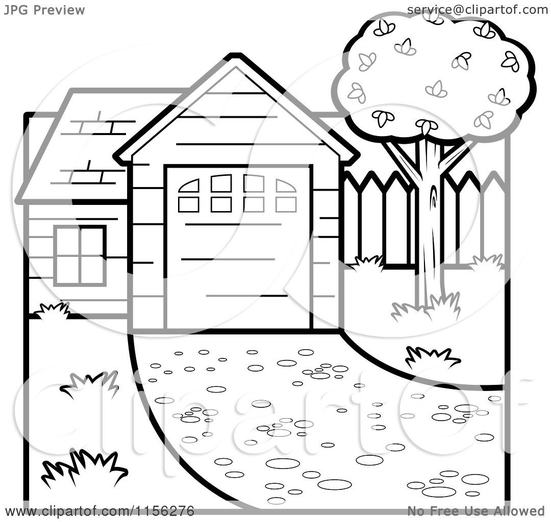 Cartoon Clipart A Black And White House Vector