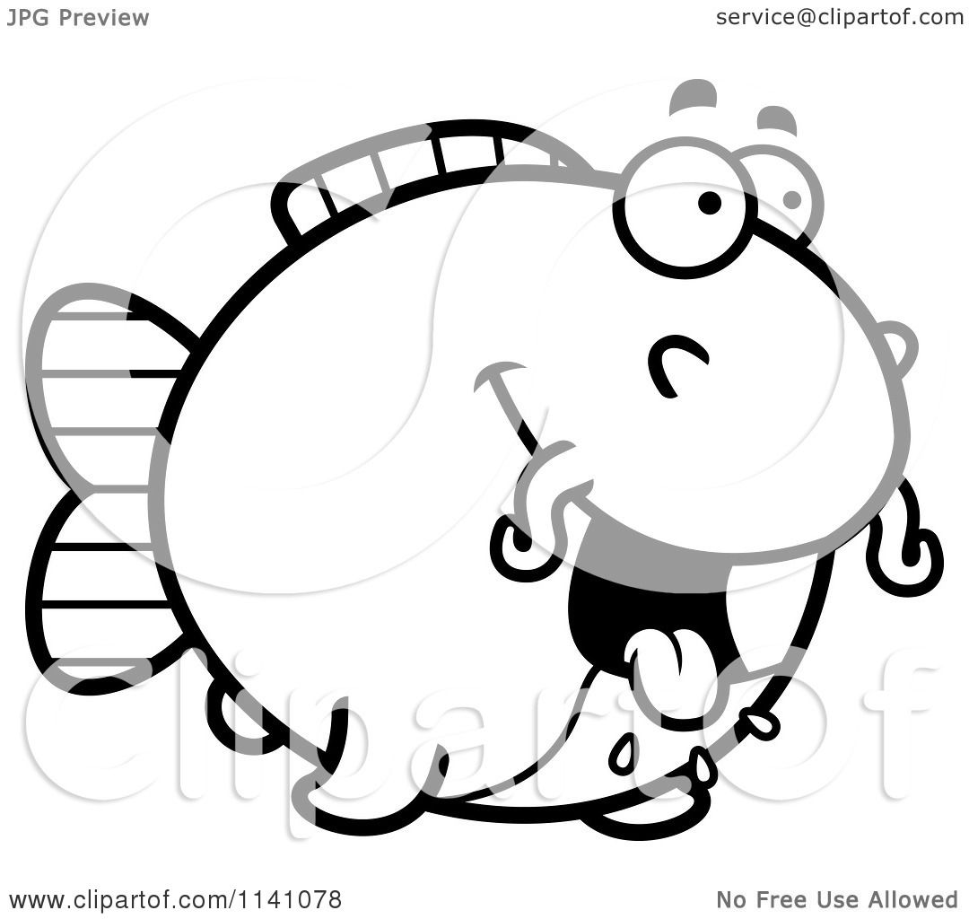 Clip Art Catfish Coloring Page cartoon clipart of a black and white hungry chubby catfish vector outlined coloring page by cory thoman