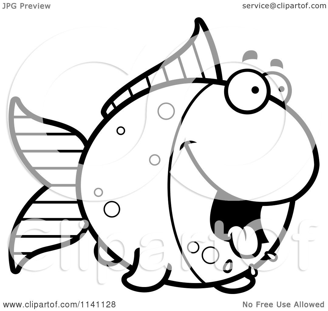 Cartoon Clipart Of A Black And White Hungry Goldfish - Vector ... for Goldfish Clipart Black And White  55dqh