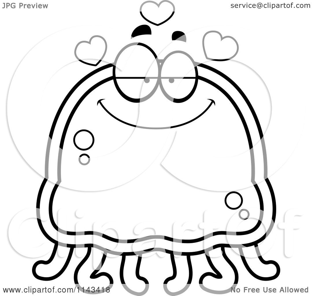 cartoon clipart of a black and white infatuated jellyfish vector