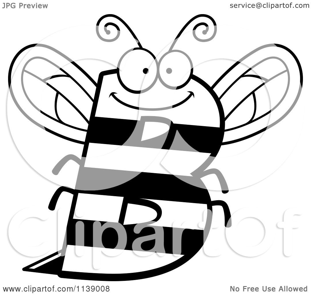 cartoon clipart of a black and white letter b bee vector