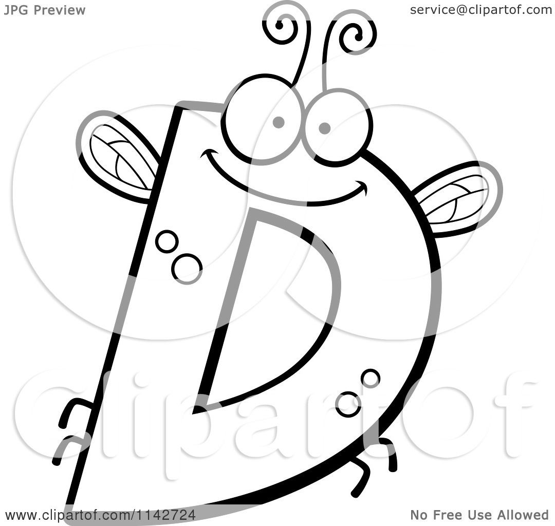 cartoon clipart of a black and white letter d bug vector