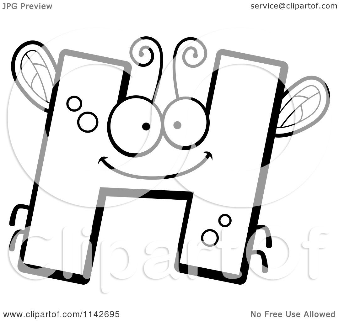cartoon clipart of a black and white letter h bug vector