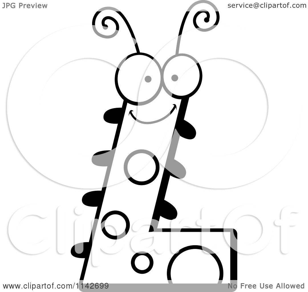 cartoon clipart of a black and white letter l bug vector