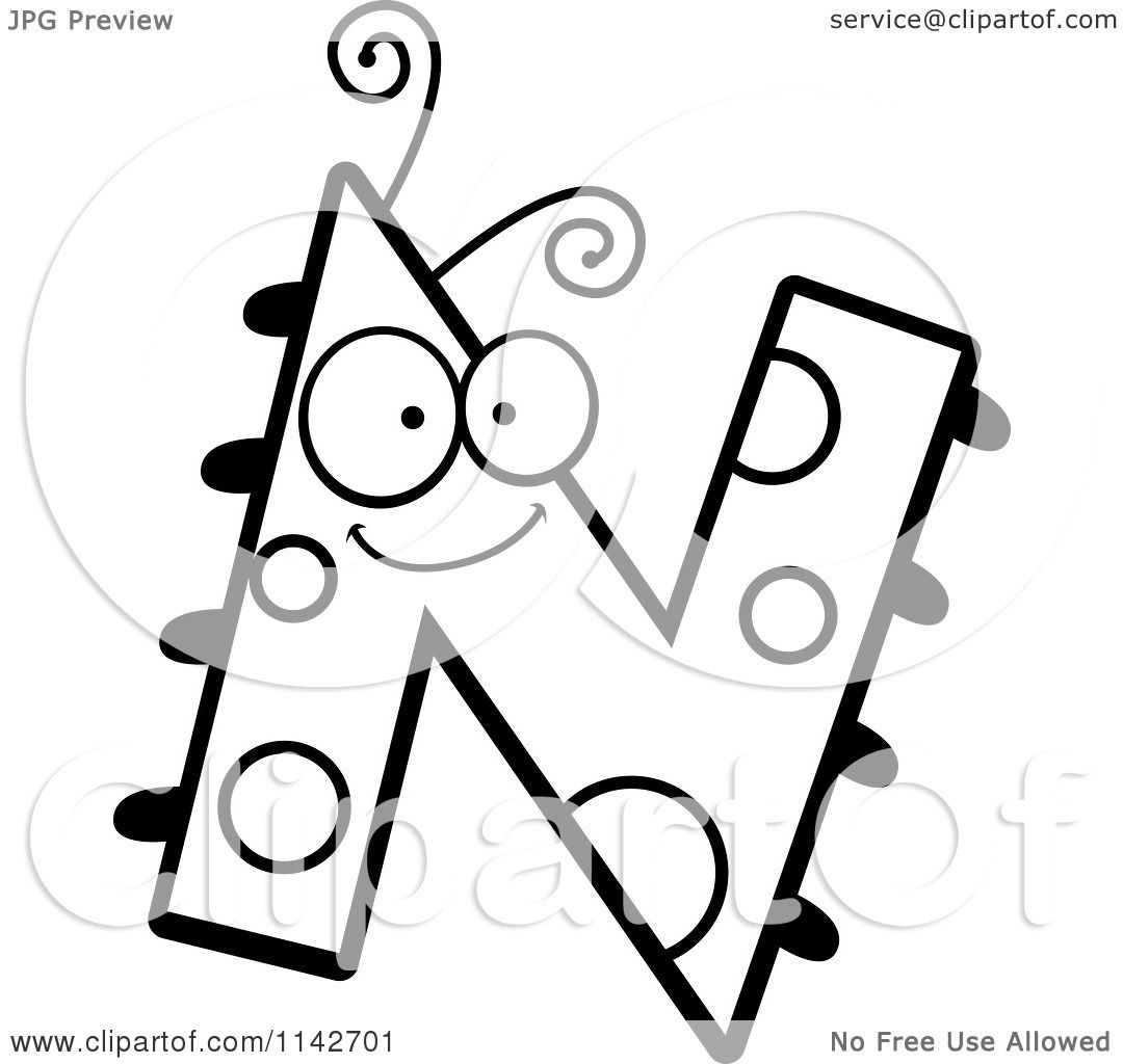 Cartoon Clipart Of A Black And White Letter N Bug - Vector Outlined Coloring Page By -7936