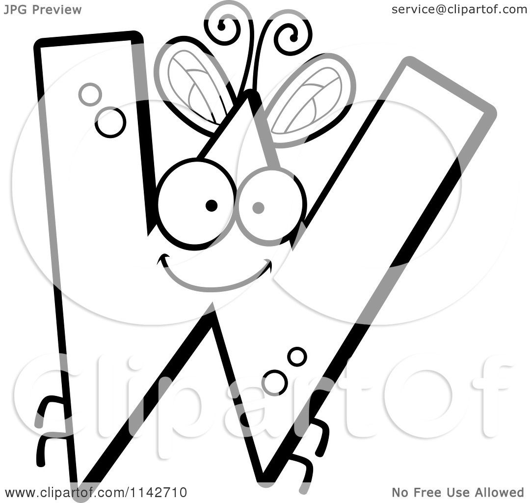 cartoon clipart of a black and white letter w bug vector outlined coloring page by cory thoman