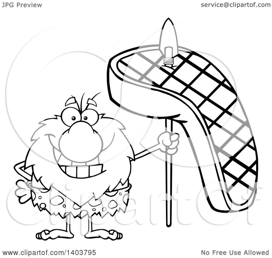 Cartoon Clipart of a Black and White Lineart Caveman Mascot ... for Beef Clipart Black And White  584dqh