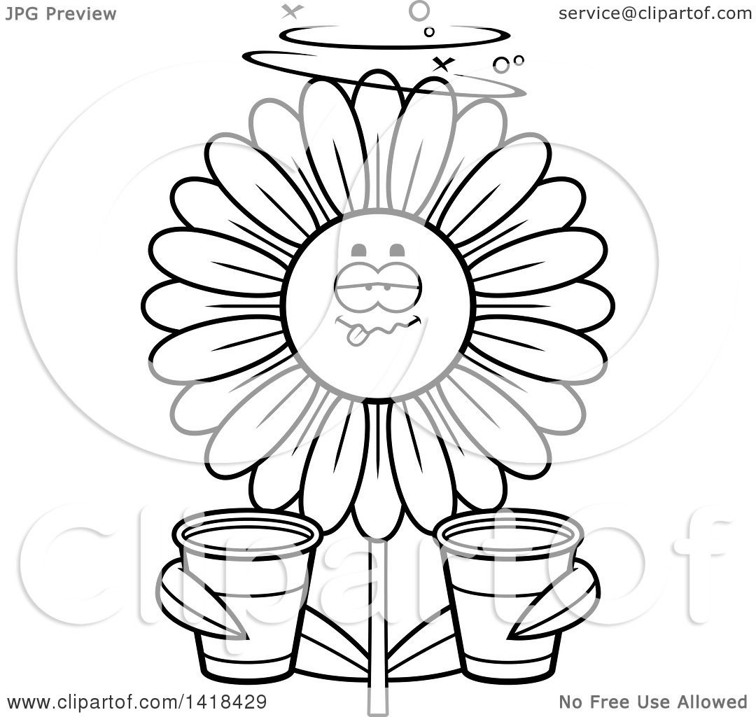 Cartoon Clipart of a Black and White Lineart Drunk Daisy ...