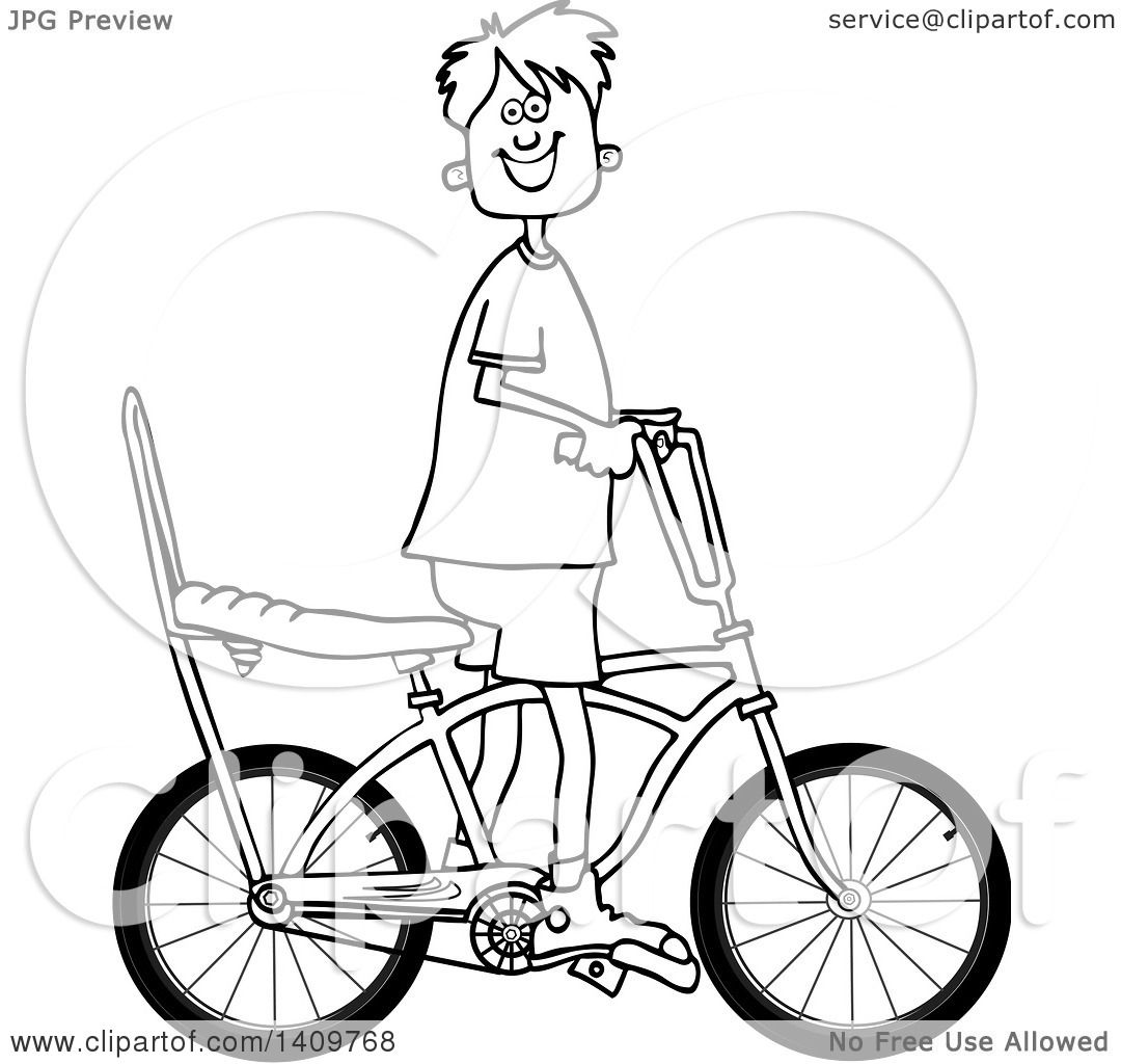 Cartoon Clipart Of A Black And White Lineart Happy Boy