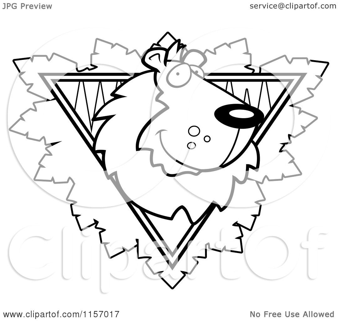 perfect cartoon clipart of a black and white lion face over a safari triangle with leaves vector outlined coloring page by cory thoman with lion face
