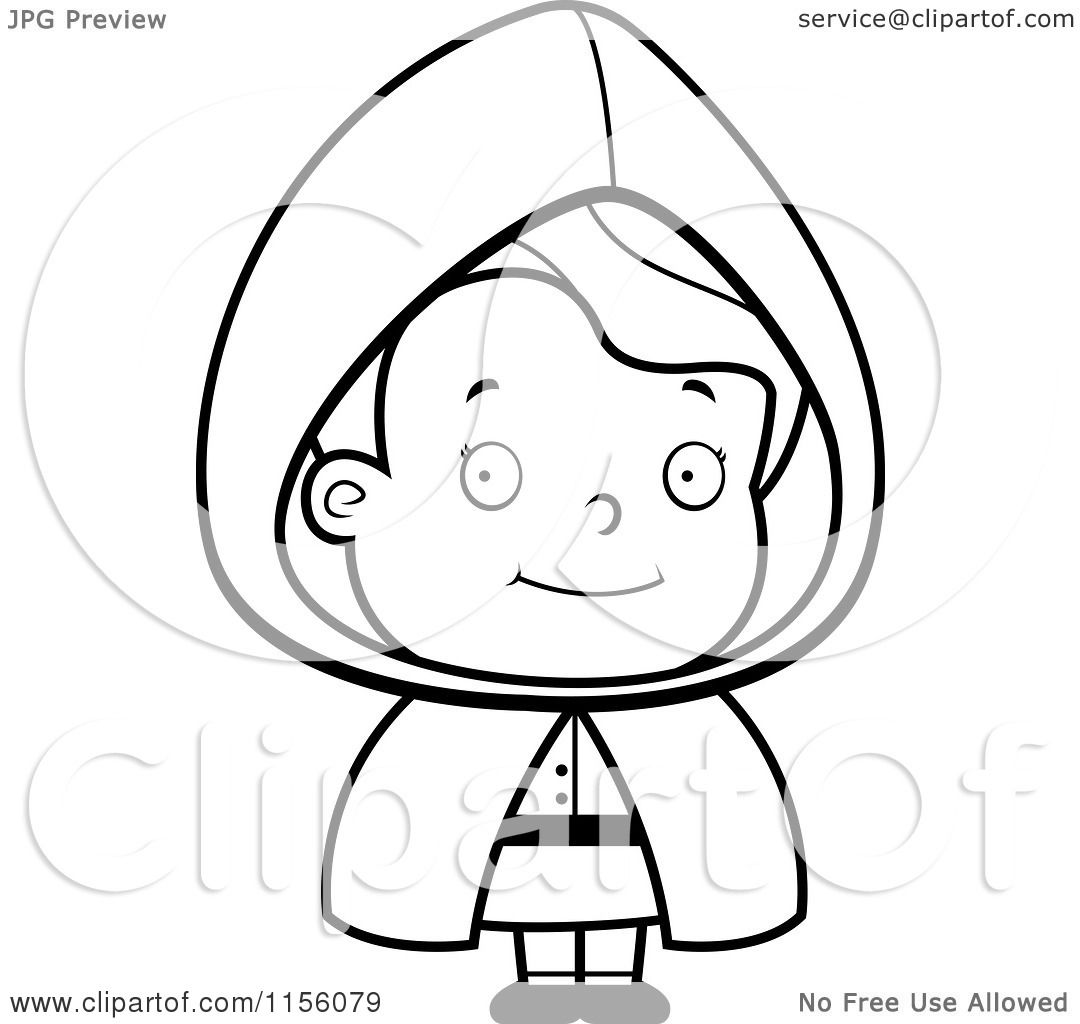 Cartoon Clipart Of A Black And White Little Red Riding -9183