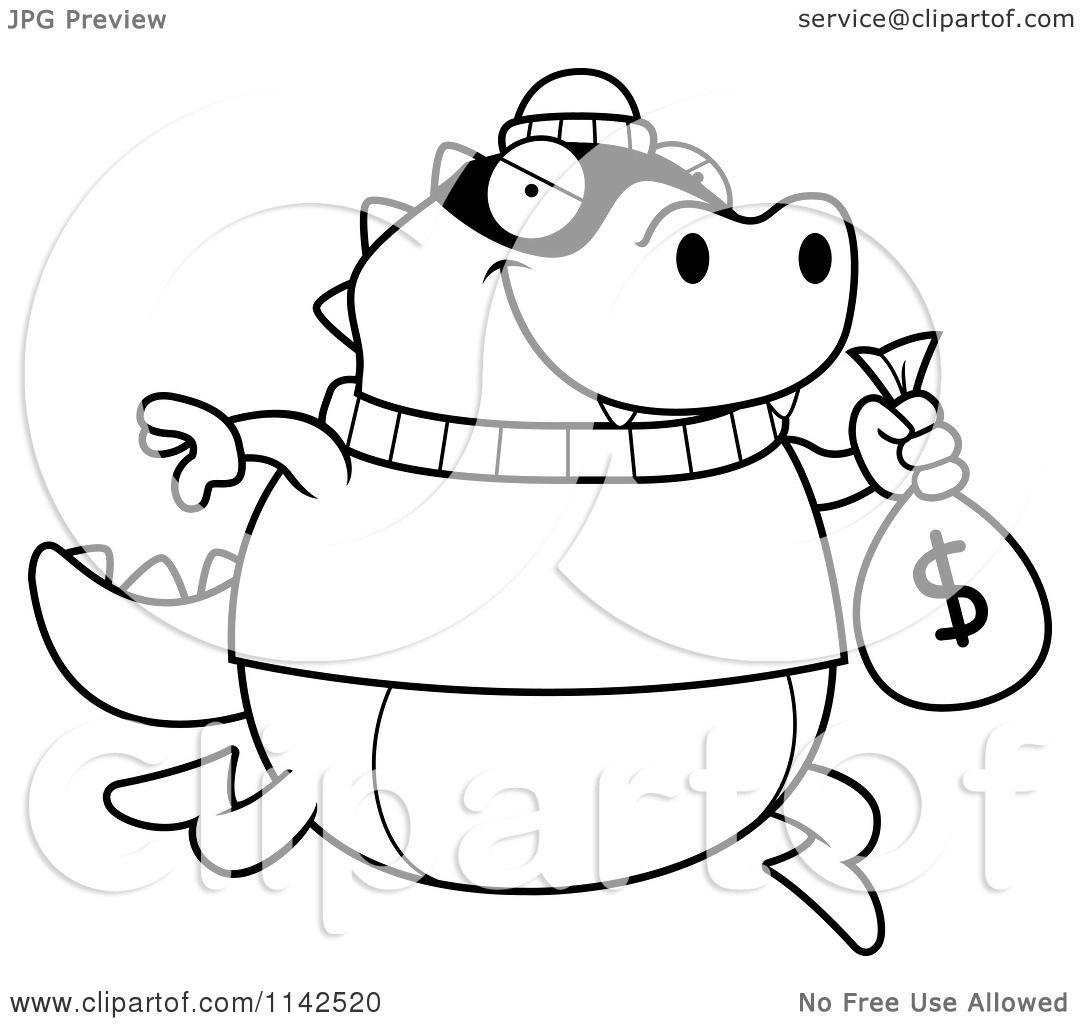 cartoon clipart of a black and white lizard robbing a bank