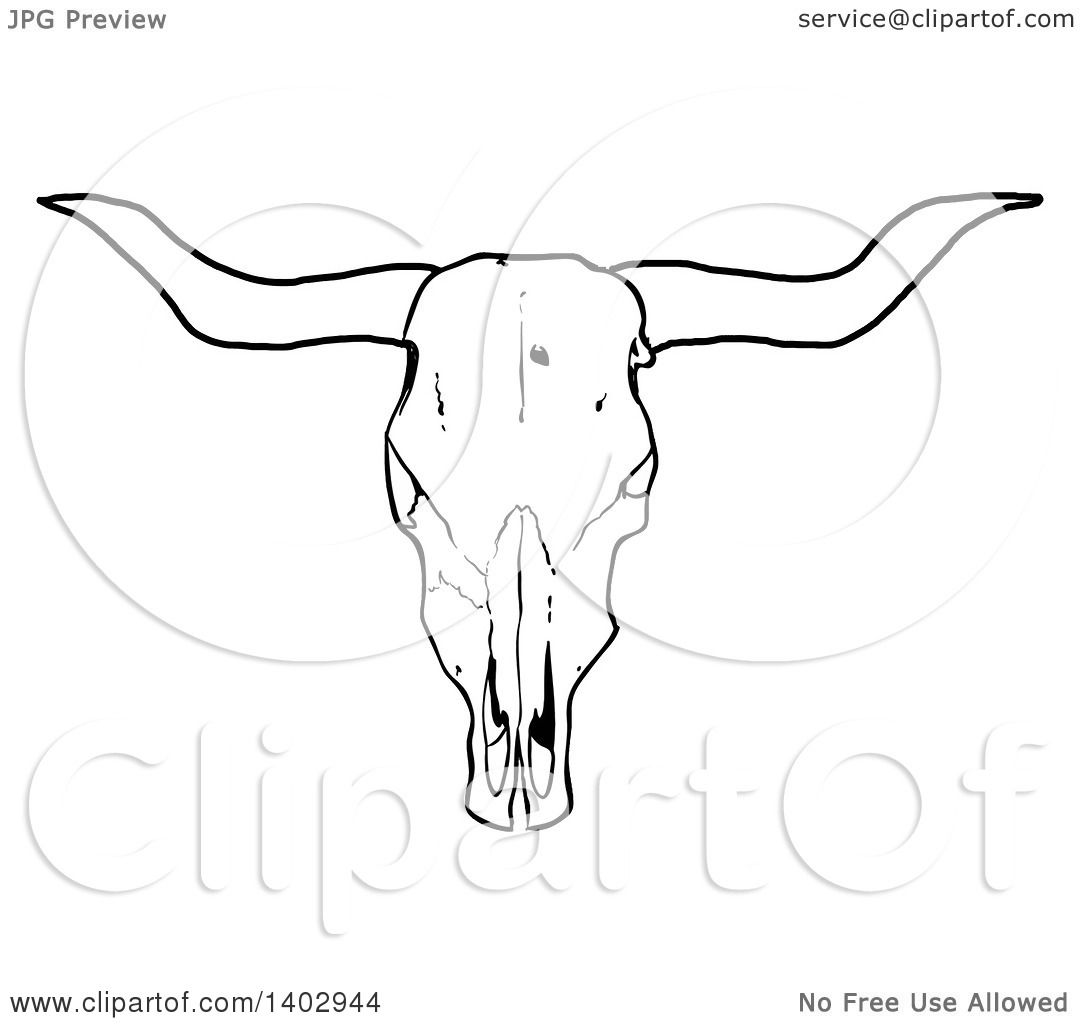 Cartoon Clipart Of A Black And White Long Horn Steer Cow Skull