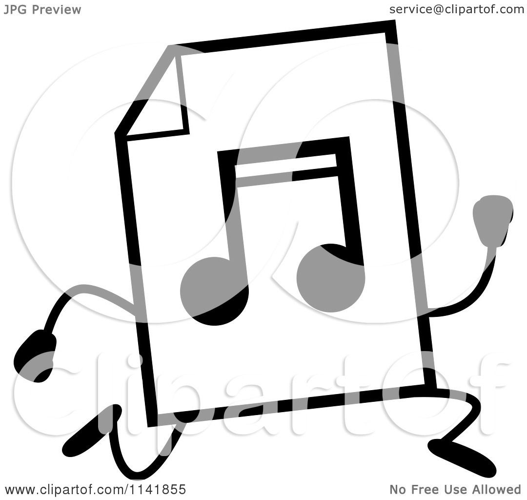 Cartoon Clipart Of A Black And White MP3 Music Document Mascot ...