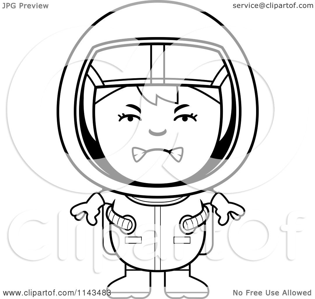 Cartoon Clipart Of A Black And White Mad Astronaut Girl ...