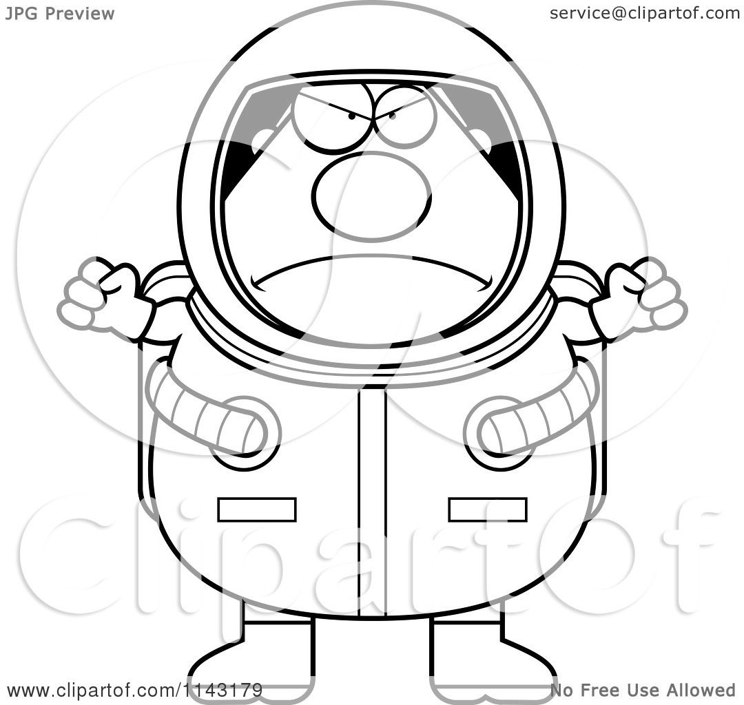 Cartoon Clipart Of A Black And White Mad Astronaut ...