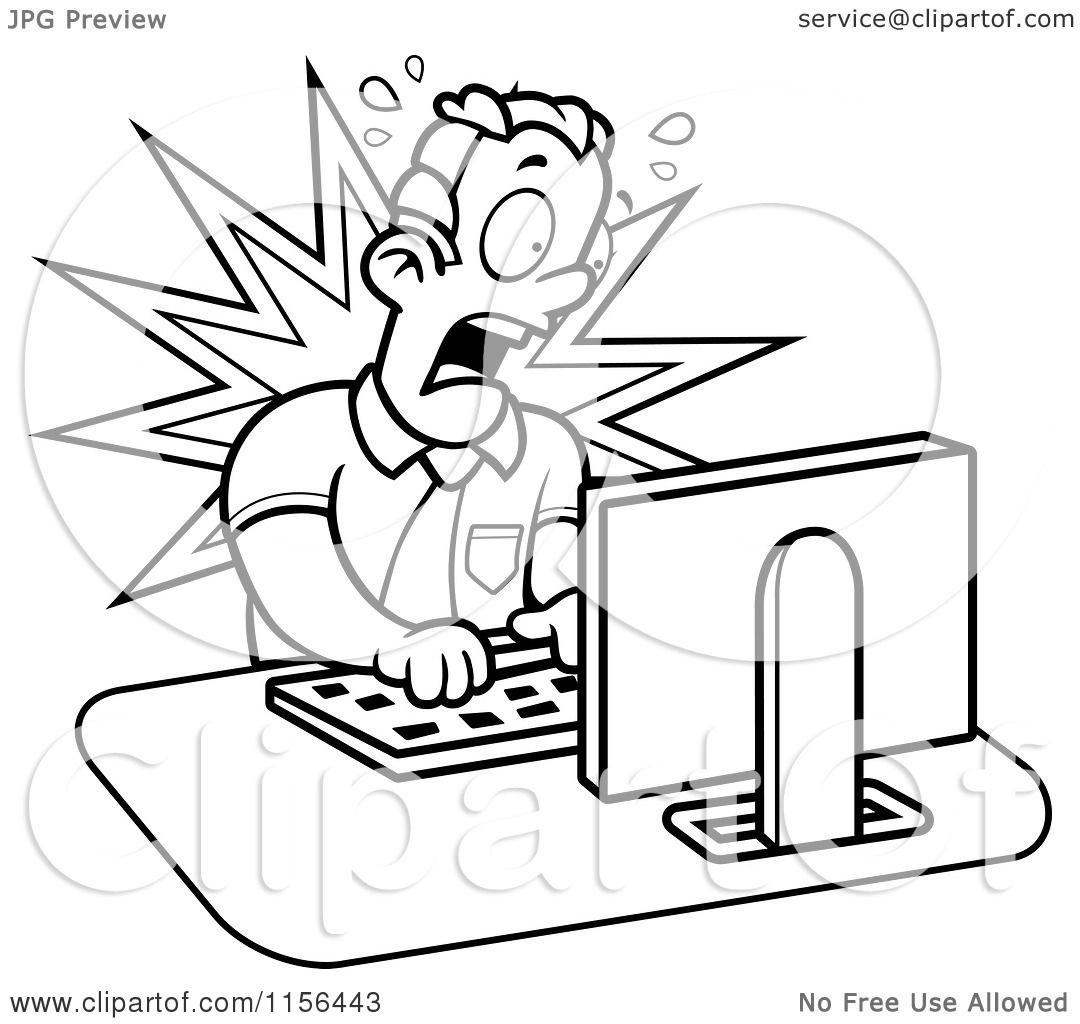 cartoon clipart of a black and white mad businessman working on a