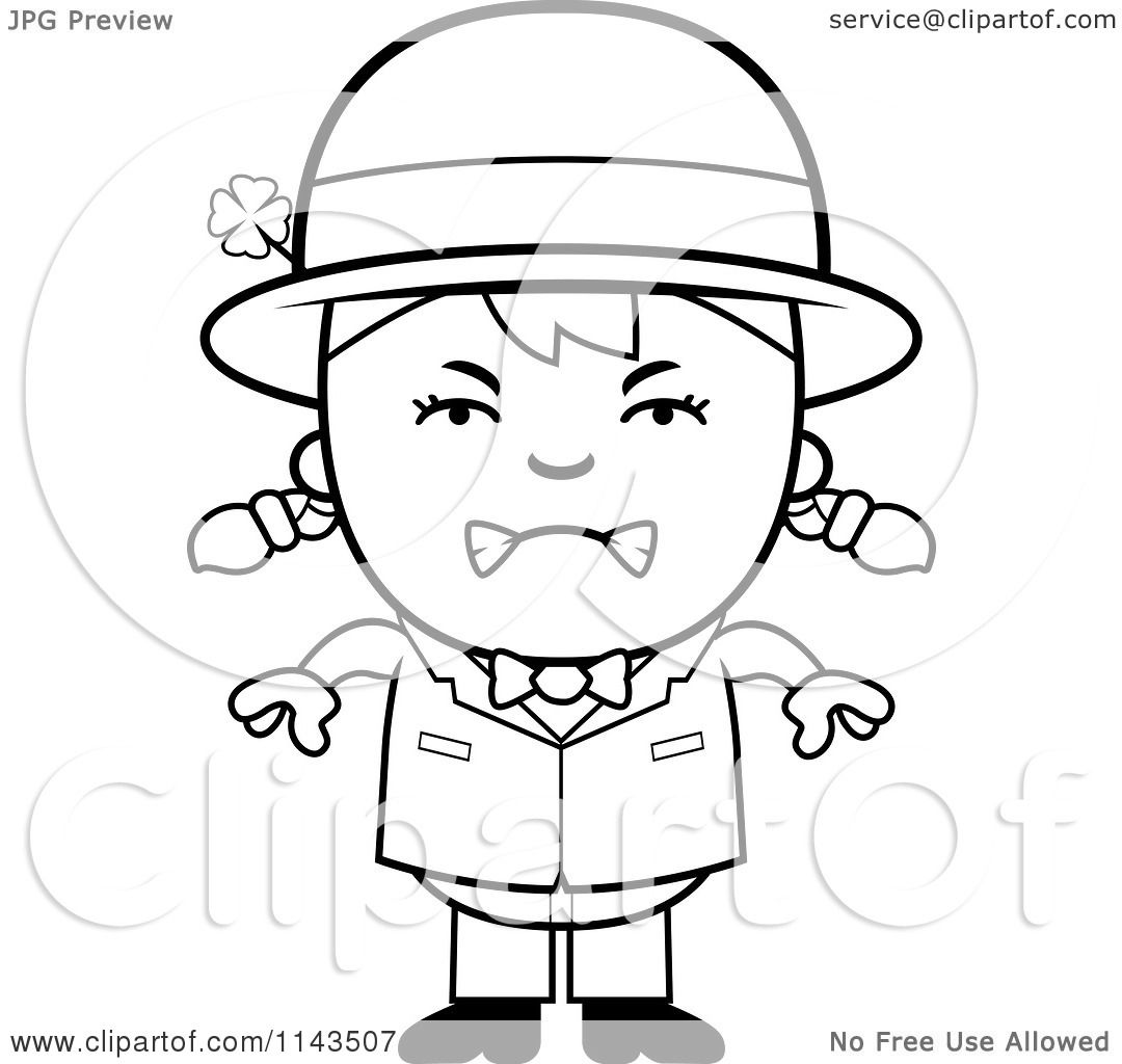 cartoon clipart of a black and white mad child leprechaun