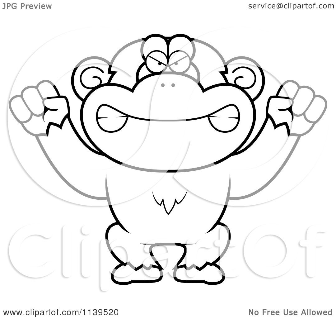 cartoon clipart of a black and white mad chimp monkey vector