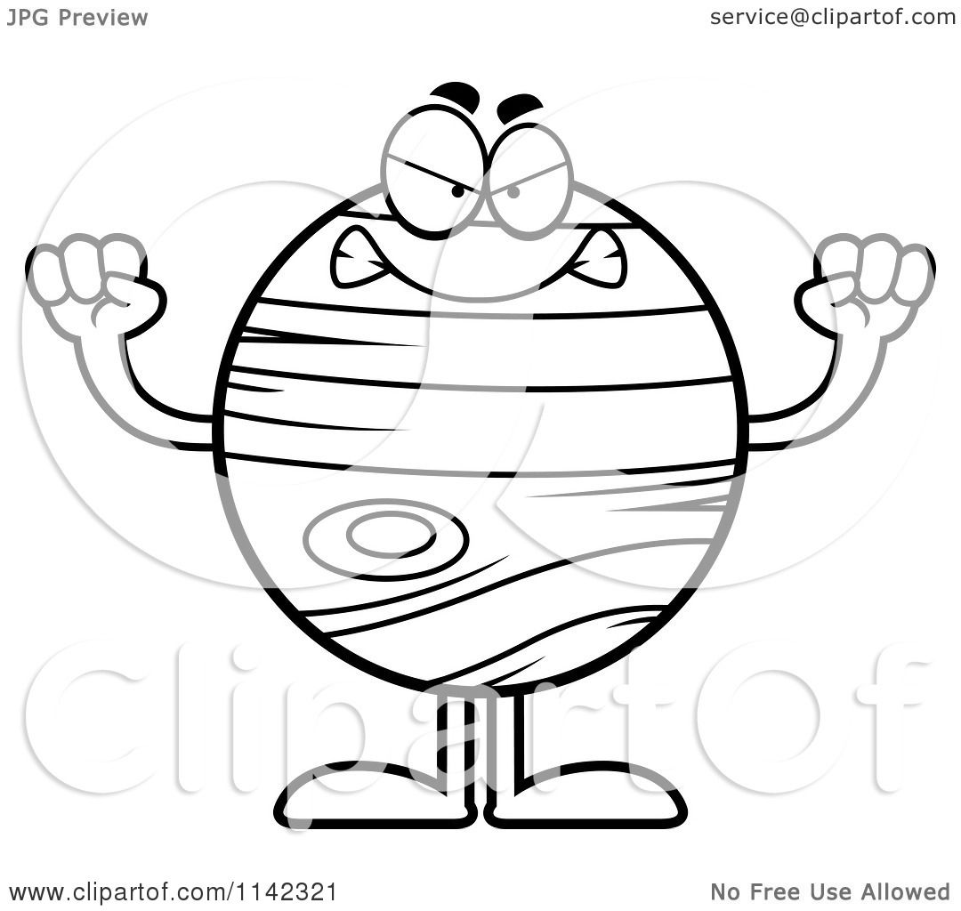 cartoon clipart of a black and white mad planet jupiter vector