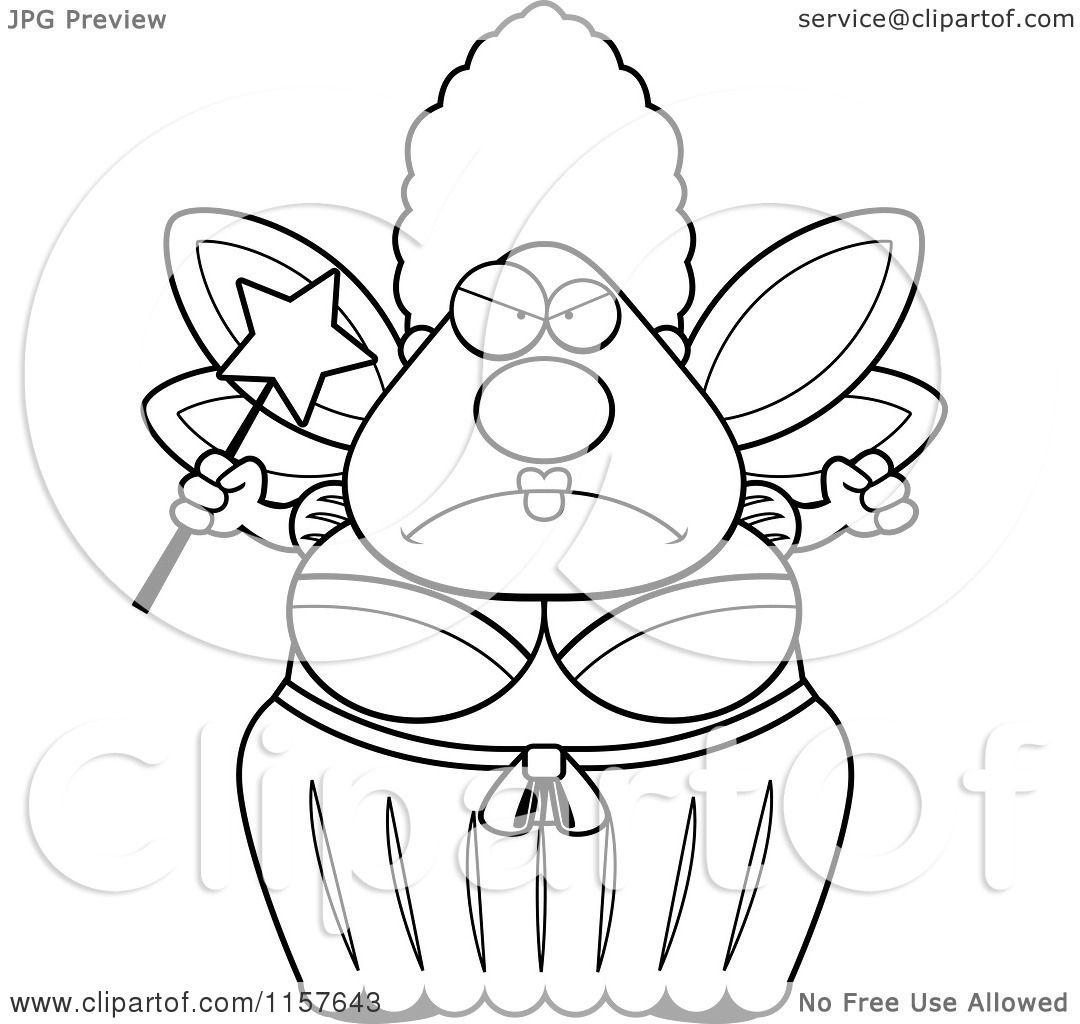Cartoon Clipart Of A Black And White Mad Plump Fairy Godmother
