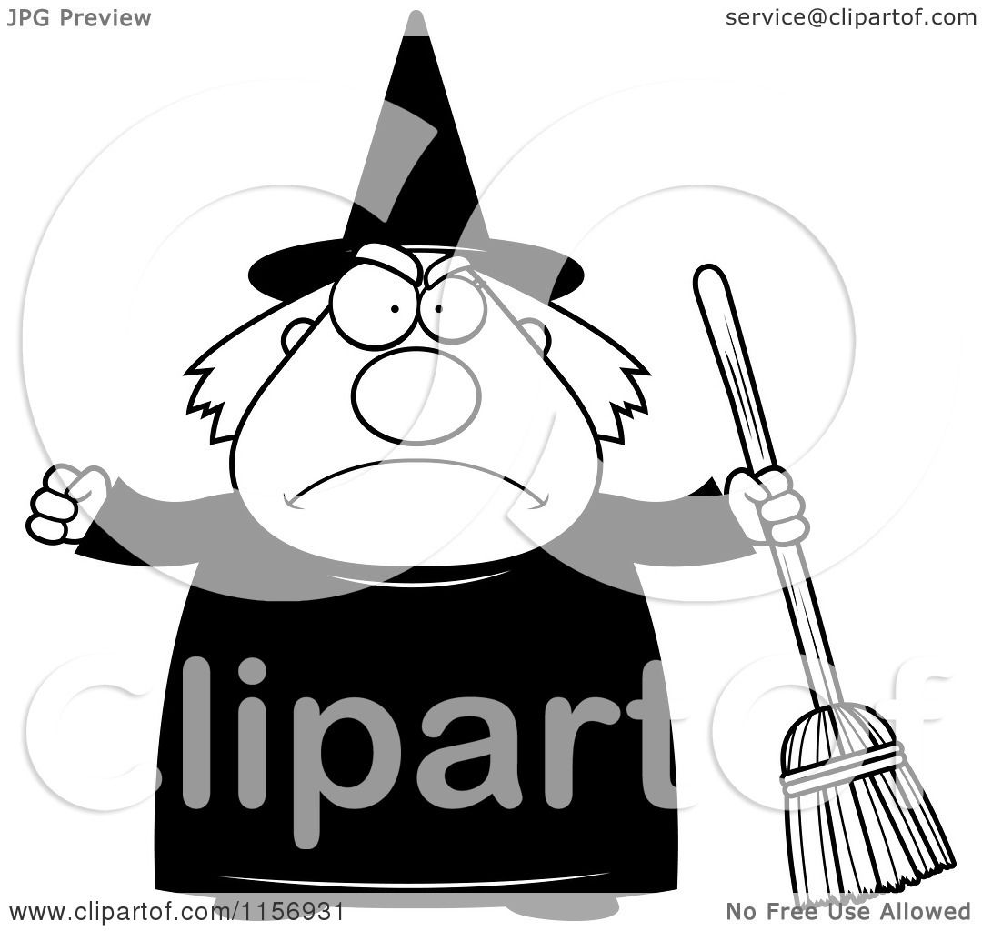 Cartoon Clipart Of A Black And White Mad Plump Witch Holding A Broom - Vector Outlined -8364