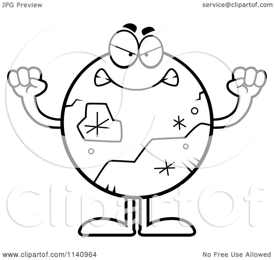 Cartoon Clipart Of A Black And White Mad Pluto Vector