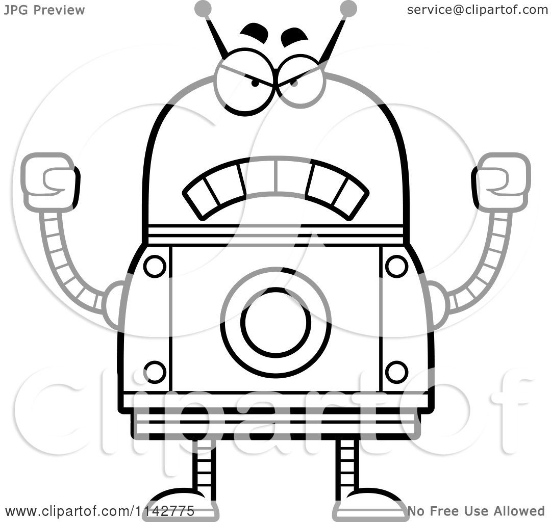 cartoon clipart of a black and white mad robot vector outlined