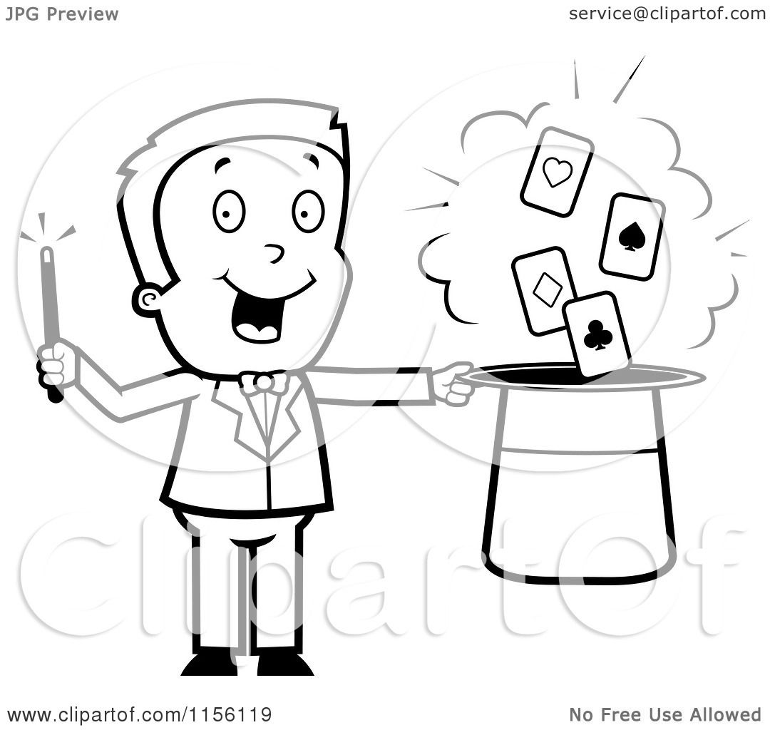Cartoon Clipart Of A Black And White Magician Man with Playing ...