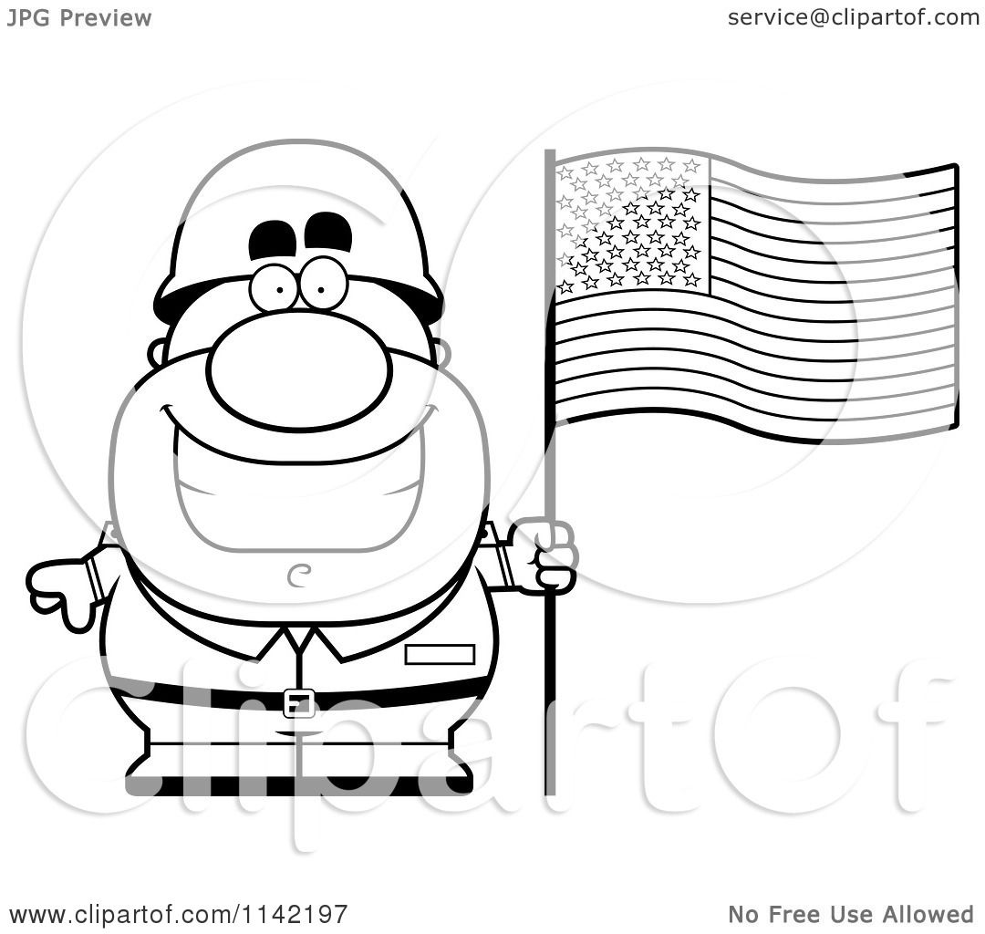 cartoon clipart of a black and white male army soldier with an
