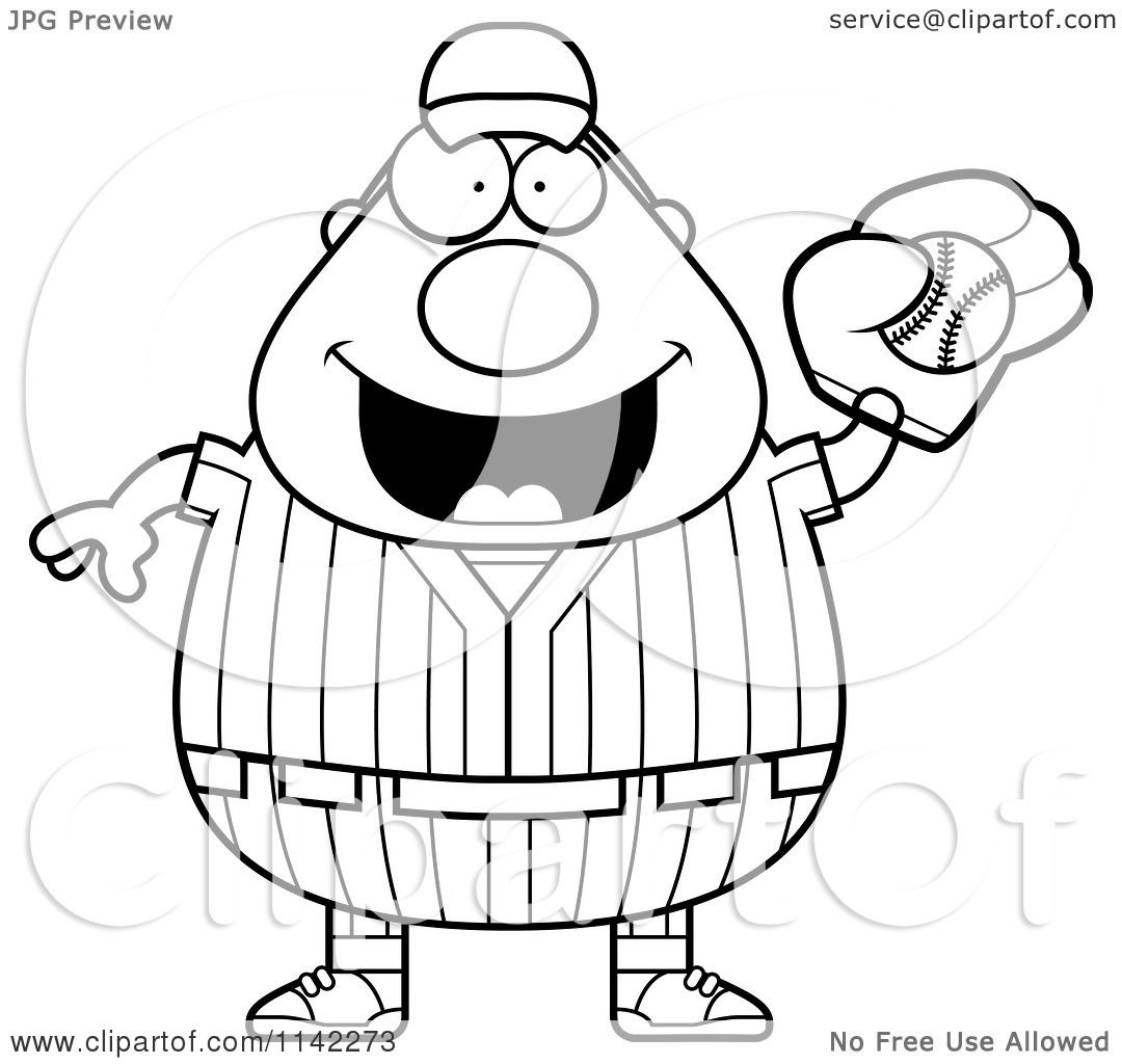 cartoon clipart of a black and white male baseball player catching