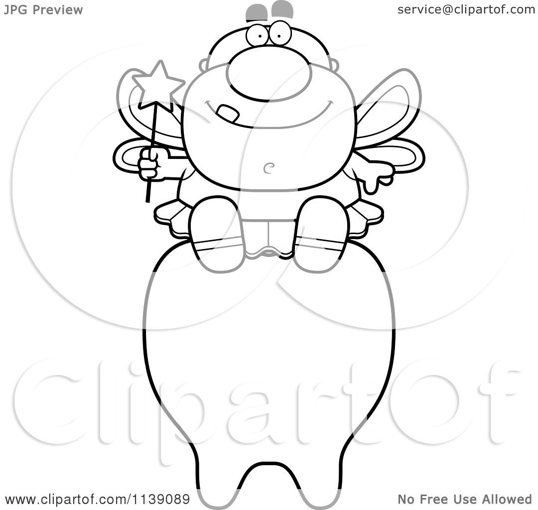 cartoon clipart of a black and white male tooth fairy sitting on a