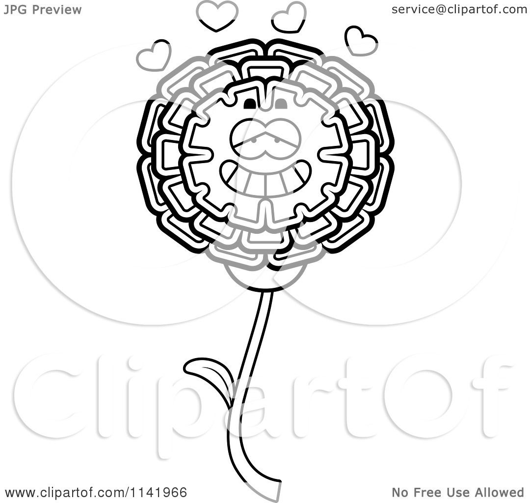 cartoon clipart of a black and white marigold flower character in love vector outlined coloring page by cory thoman