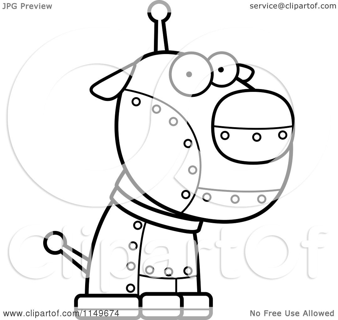Cartoon Clipart Of A Black And White Metal Robotic Dog